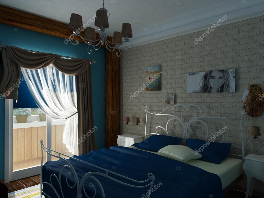 Camera da letto nei toni del blu