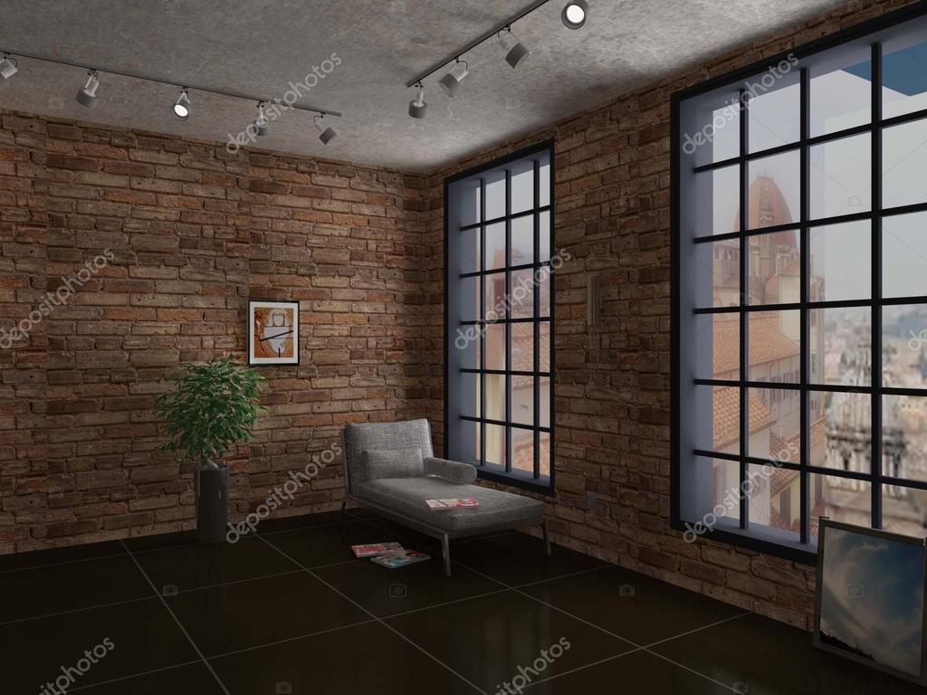 Intérieur de chambre avec mur en brique rouge et blanc ...