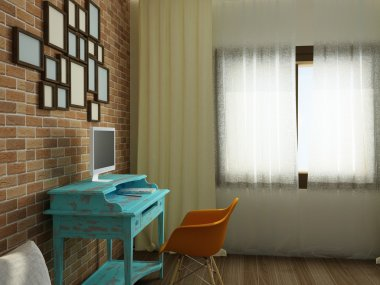 Cozy work place with brick wall in modern flat