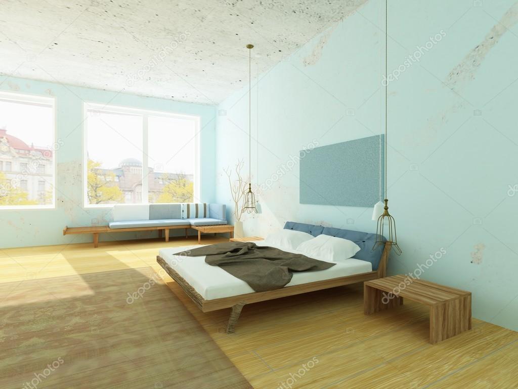 Slaapkamer Blauwe Muur : Gezellige ochtend slaapkamer met blauwe muren scandinavische