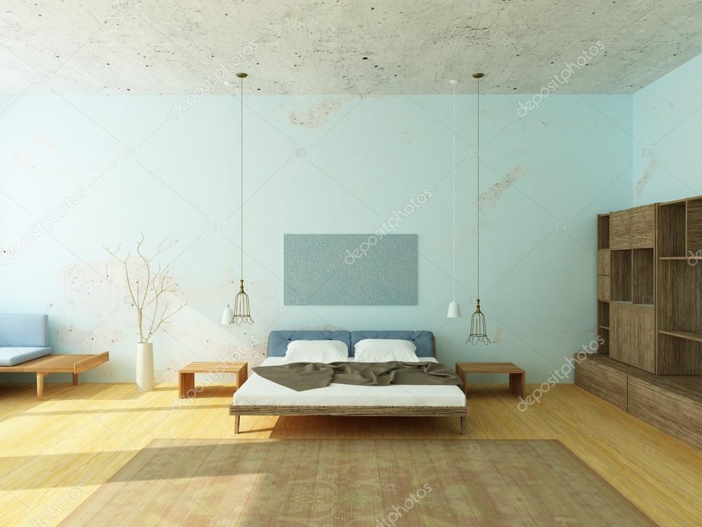 mooie gezellige slaapkamer in blauwe kleuren stockfoto