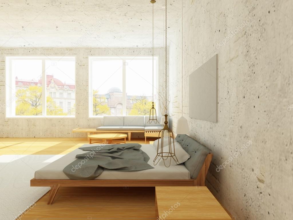 Gezellige interieur van slaapkamer in scandinavische stijl in zonlicht stockfoto lisunova - Gezellige slaapkamer ...