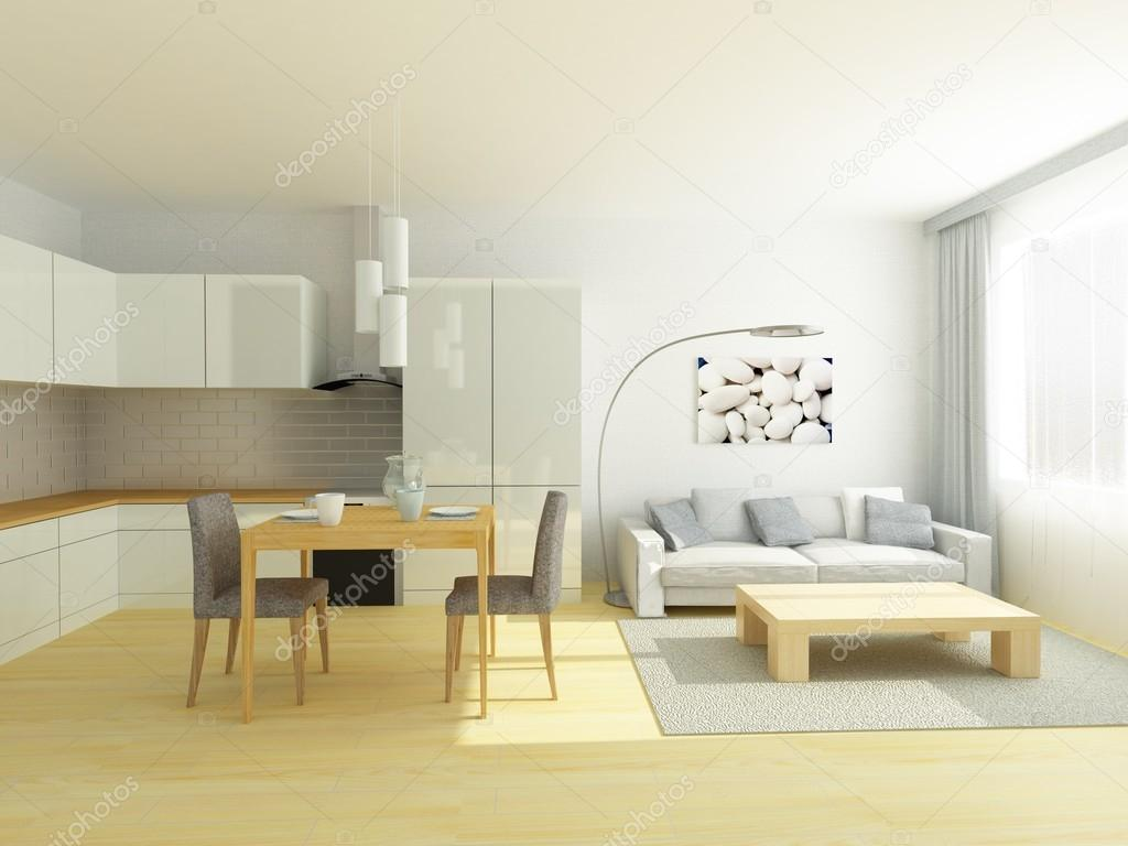Studio flat kitchen and sitting room in light gray and white colors ...