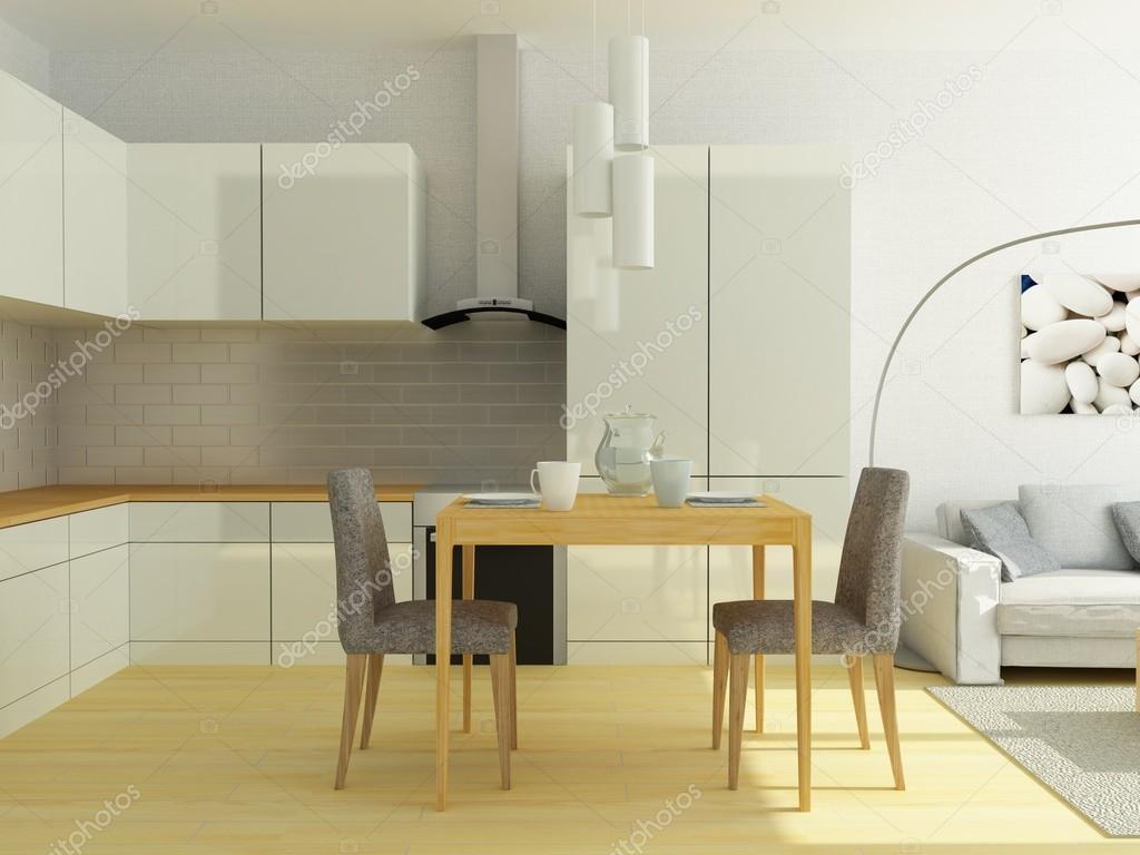 Cucina moderna della luce in un piccolo studio flat - Luce sottopensile cucina ...