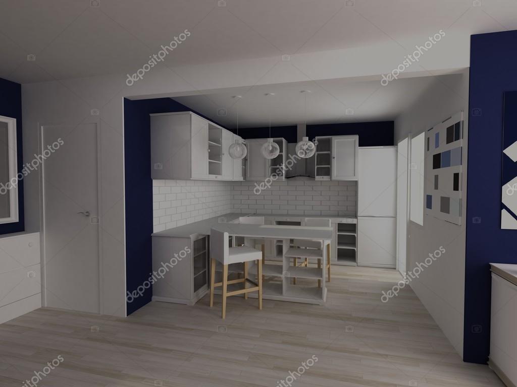 Moderne Blauw Keuken : Wit en blauw moderne keuken studio u2014 stockfoto © lisunova #96613006