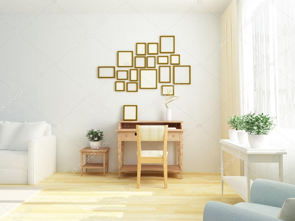 Scandinavische Vintage Woonkamer : Lichte witte interieur van woonkamer met vintage kast tabel