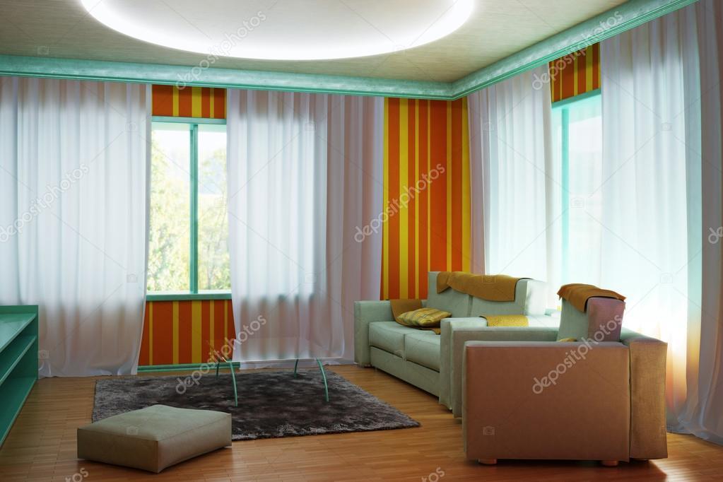Interieur kamer in de kleuren van de jaren 60 — Stockfoto ...