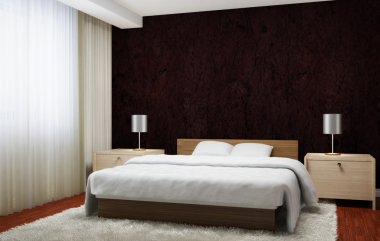 Bedroom interior executed in dark brown tones with light wood furnishings and white carpet.