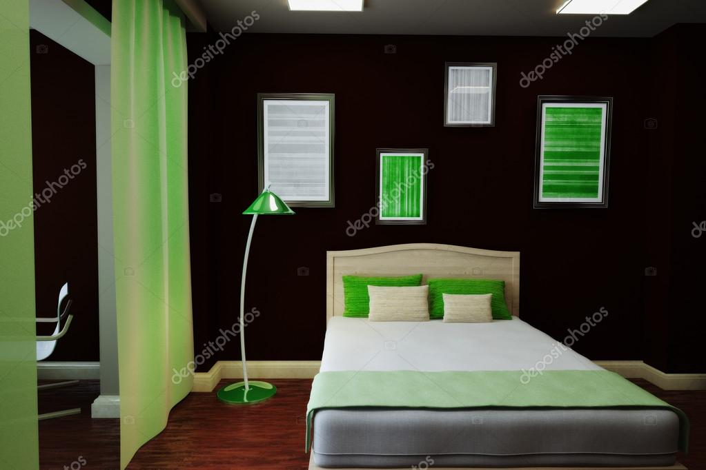 Ilustración 3D del interior de una habitación oscura con un balcón ...