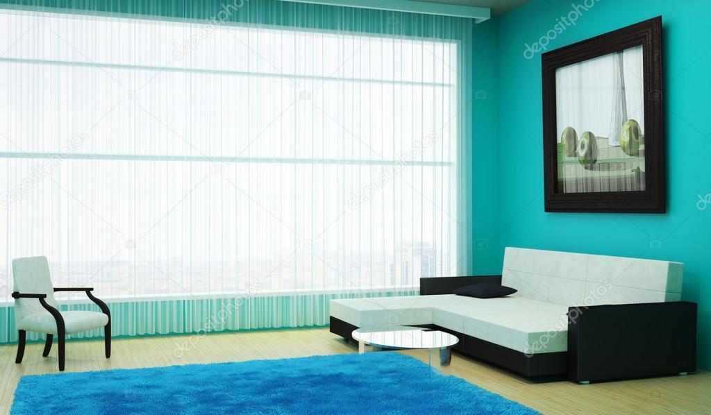Elegant interieur woonkamer met een groot raam met Schilderij woonkamer