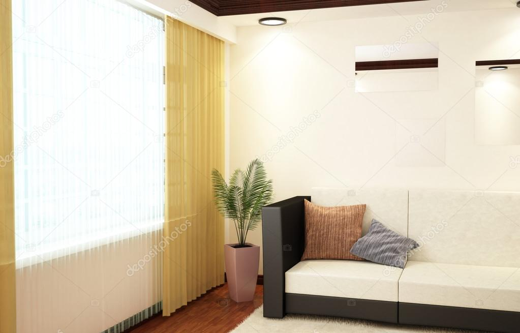 3d interior corner of the living room with a sofa