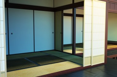 The image of the interior of empty rooms in the building in the Japanese style.