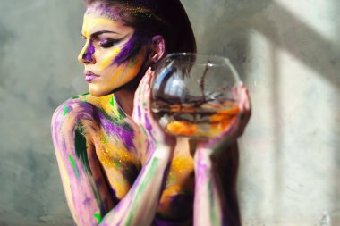 Girl with creative colorful body art