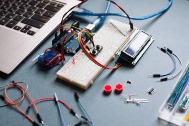 Engineer background with microcontroller