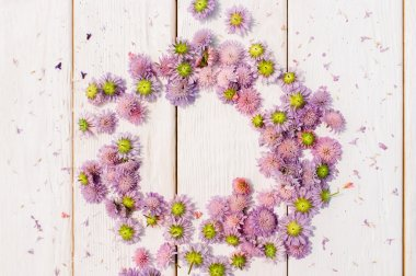 Beautiful circlet of aster flowers on white wood