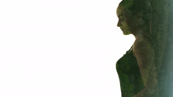 double exposure silhouette nature forest woman