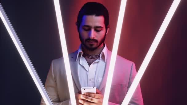 business man neon light portrait mobile technology