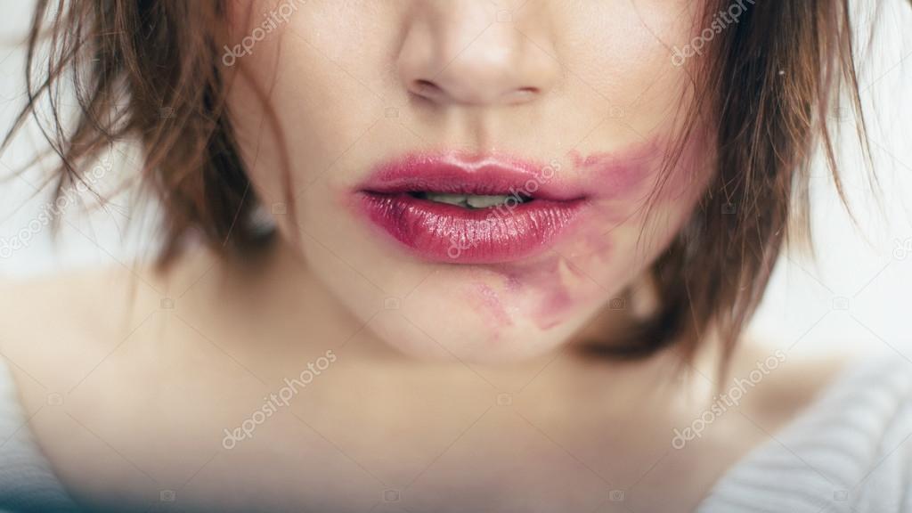 smeared lips