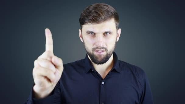 férfi szakáll és ing mutatja gesztusok a mutatóujjával