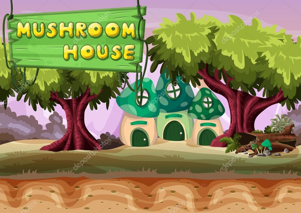 Seamless cartoon vector mushroom house with separated layers