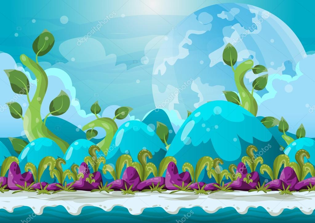 Cartoon vector heaven landscape with separated layers