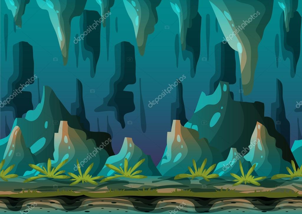 Cartoon vector cave landscape with separated layers