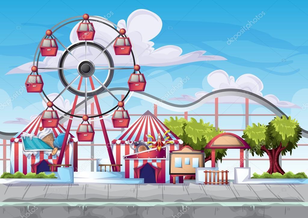 El Parque De Atracciones De Dibujos Animados Ven A Jugar: Parque De Atracciones De Vector De Dibujos Animados Con