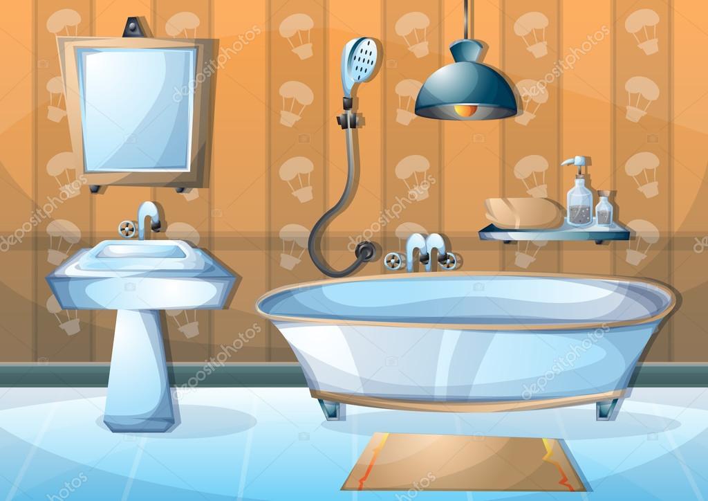 Dibujos animados vector ilustraci n interior cuarto de for Imagenes de cuartos de bano