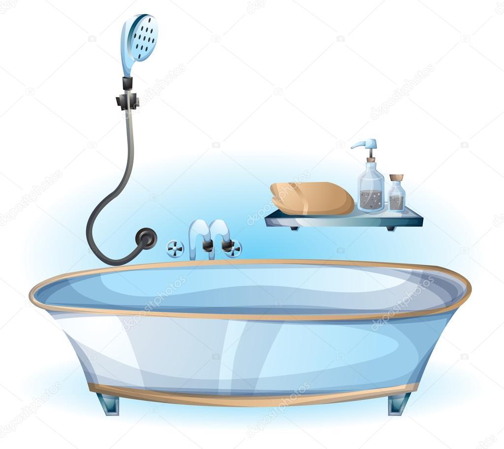 cartoon vector illustration interior bathtub object — Stock Vector ...