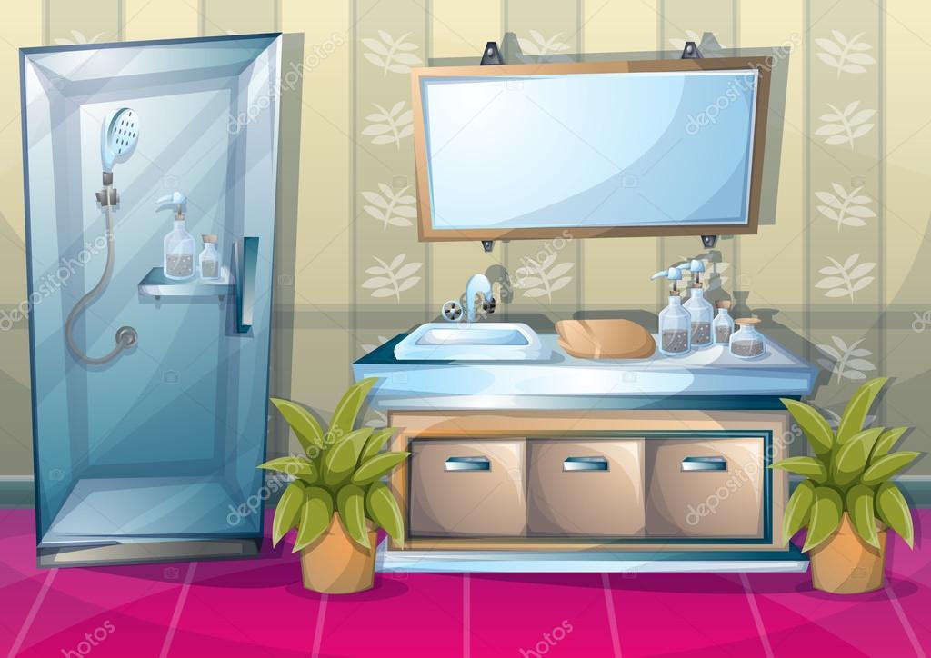 Vector de dibujos animados ilustración baño interior ...