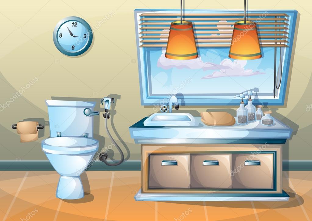 Imagenes De Un Bano Animado: Ilustración De Personaje