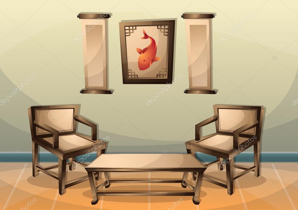 Dessin animé vector illustration intérieure chambre chinoise ...