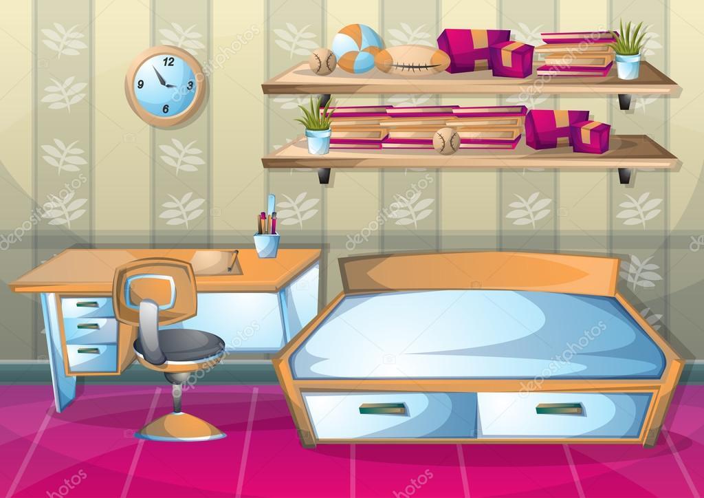 Habitaci n de ni o interior de dibujos animados vector for Habitacion dibujo