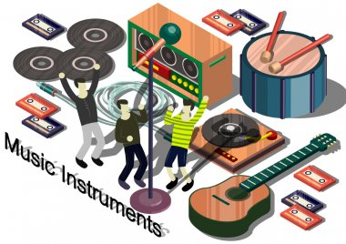 illustration of info graphic music instruments concept