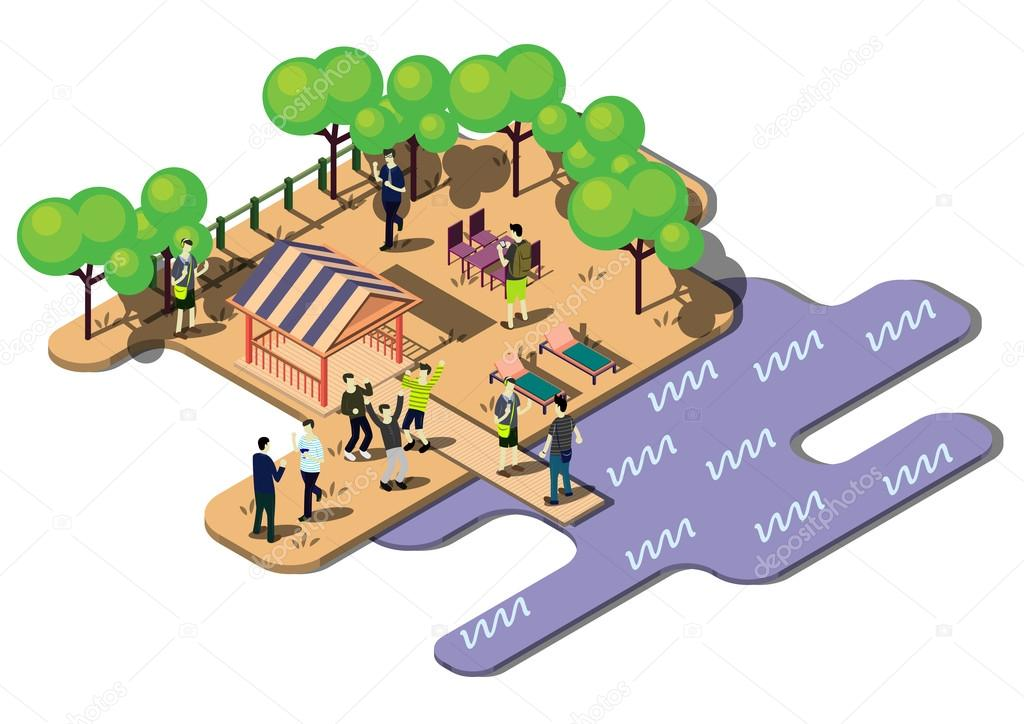 illustration of info graphic urban park concept