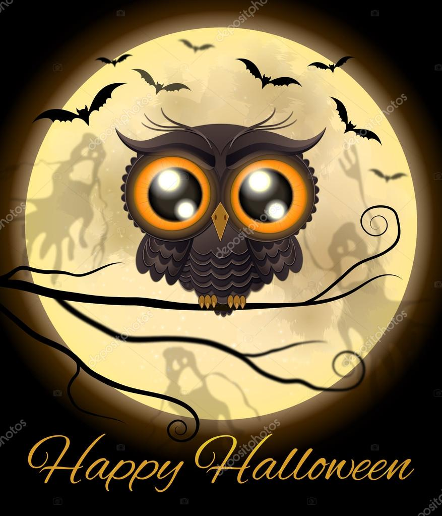 Happy Halloween Cute Owl Stock Vector
