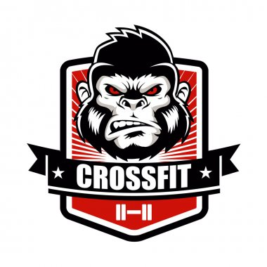 Gorilla fitness gym and sport club logo emblem design.