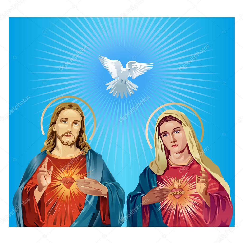 Jesús Cristo Y La Virgen María Vector De Stock Milesthone 100938556