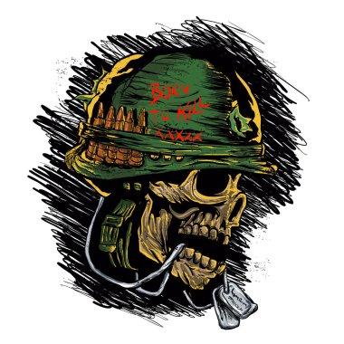 zombie with military helmet.zombie illustration