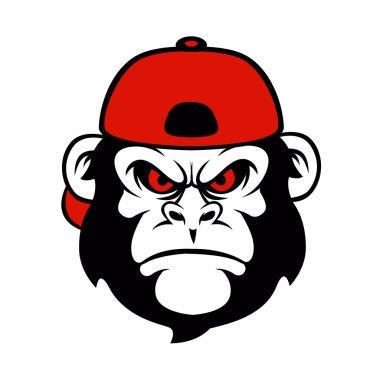 chimpanzee in a cap .cartoon monkey.funny monkey.
