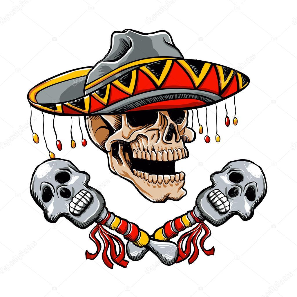 Estilo Mexicano De Calavera Con Sombrero Y Maracas Archivo