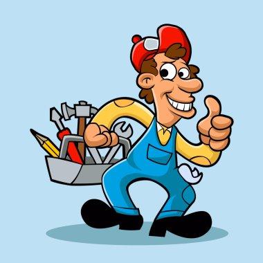 handyman holding  tool box
