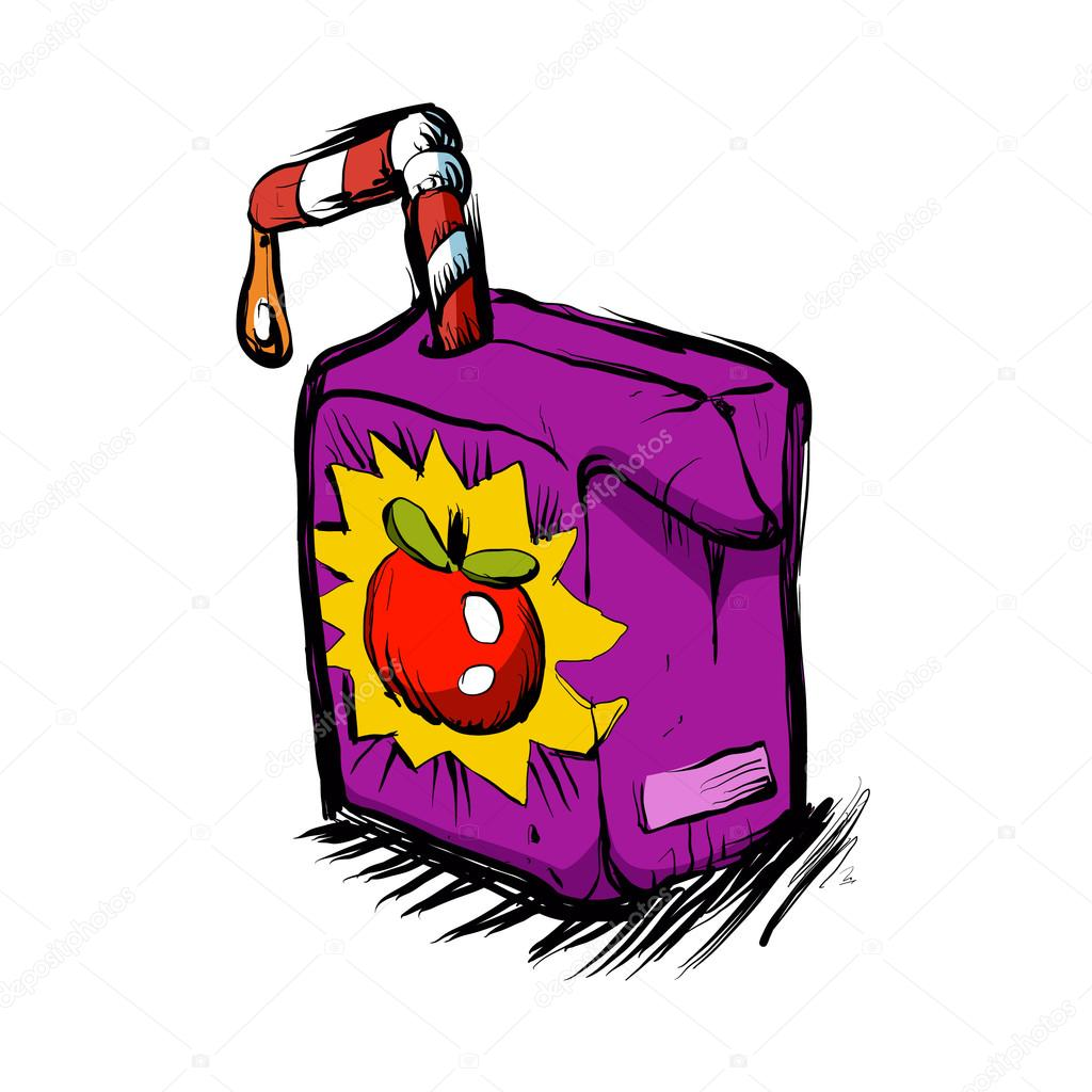 Smiling apple juice box .juice cartoon. — Stock Vector ...