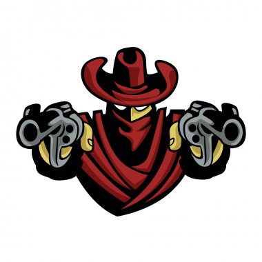 Outlaw Cowboy .Skull With Revolver