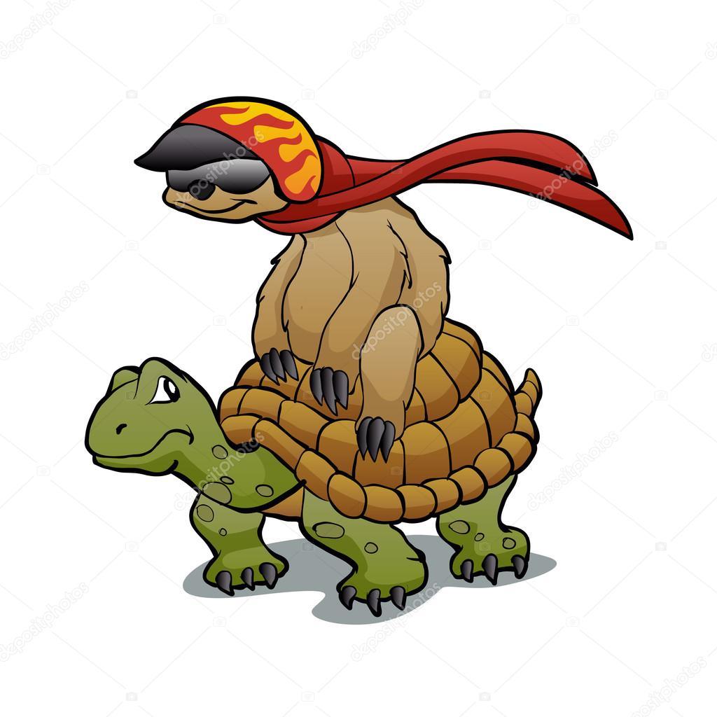 turtle cartoon sloth cartoon 亀に乗ってナマケモノ ストックベクター