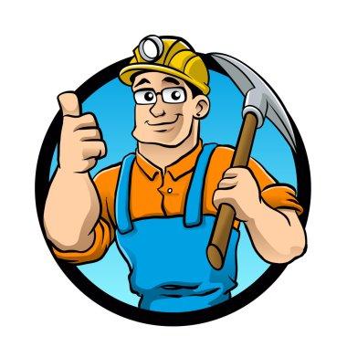 miner hold the pick axe.prospector cartoon.