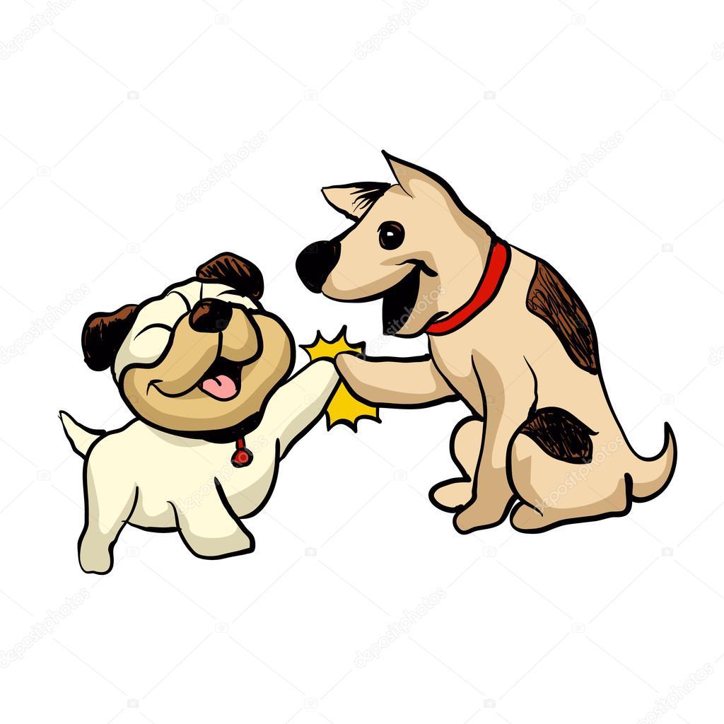 Dibujos Animados Perritos Dos Perros De Dibujos Animados