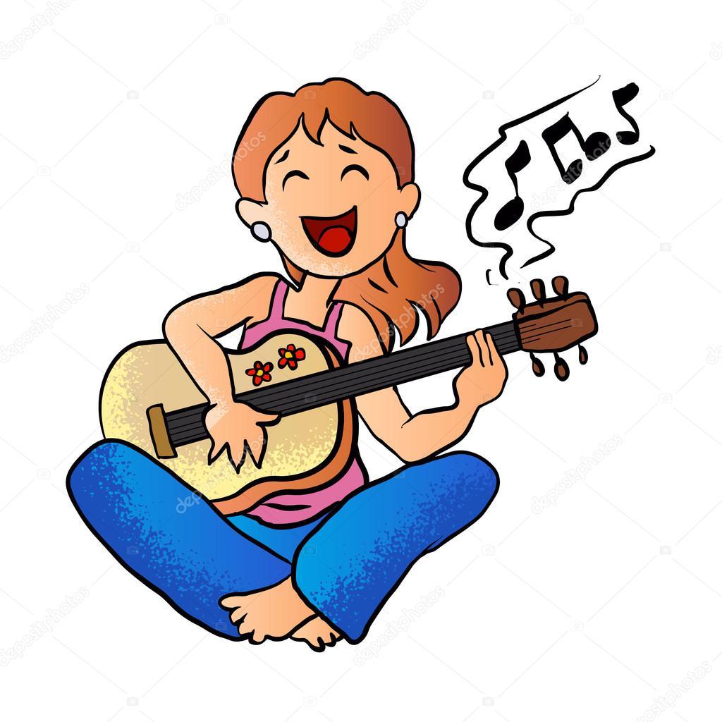 m u00e4dchen spielen gitarre cartoon vektor stockvektor classical guitar stock vector art classical guitar stock vector art