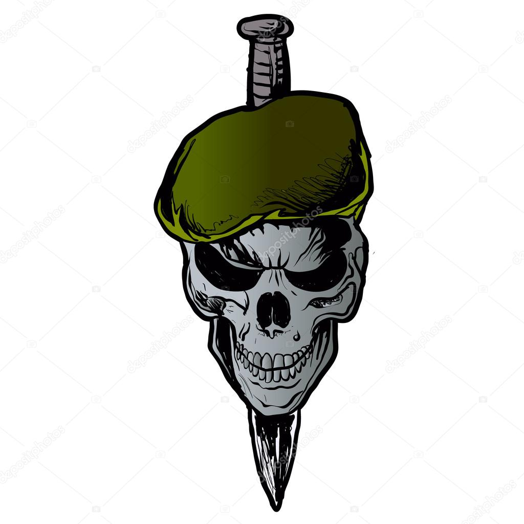 Skull Beret.military skull and dagger — Stock Vector ...