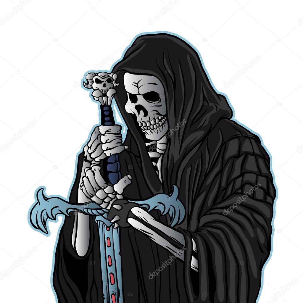 grim reaper with sword .grim reaper tattoo. — Stock Vector